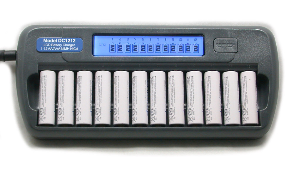 12 Slot Bank DC1212 Fast LCD Battery Charger AA AAA NiMH NiCd